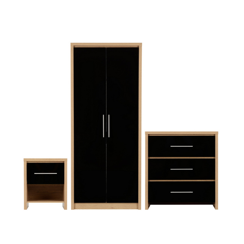 oak bedroom chest of drawersct Veneer Black High Gloss