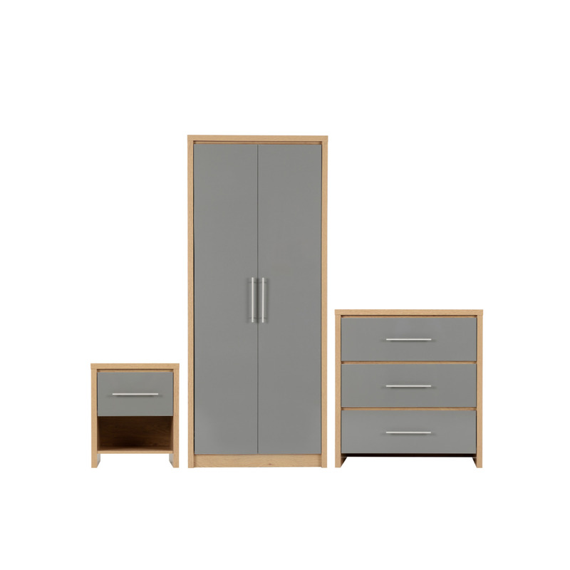 Bedroom Set in Light Oak Effect Veneer Grey High Gloss