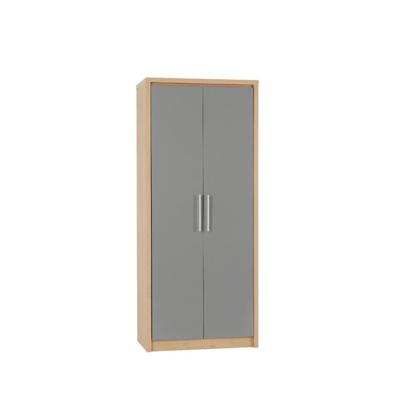 Bedroom Set in Light Oak Effect Veneer Grey High Gloss
