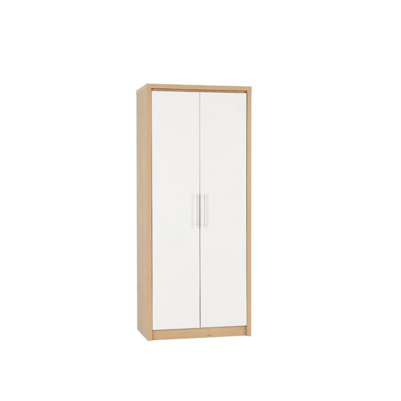 Bedroom Set in Light Oak Effect Veneer White High Gloss