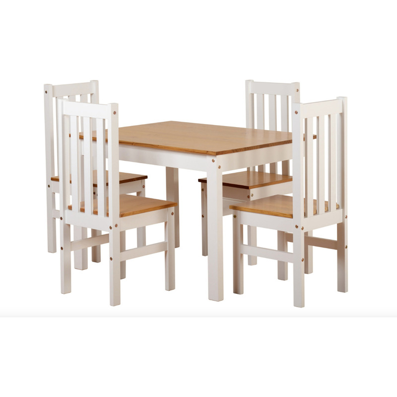 Sophia Contemporary Solid Pine Dining Set – 4 Chairs