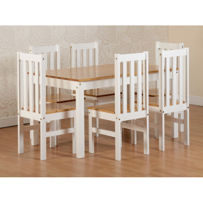 Sophia Contemporary Solid Pine Dining Set – 6 Chairs